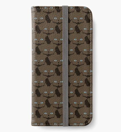 Chai Brown Cat Cattern [Cat Pattern] iPhone Wallet