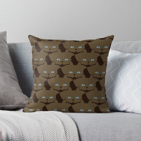 Chai Brown Cat Cattern [Cat Pattern] Throw Pillow