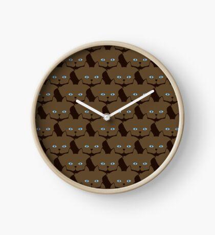 Chai Brown Cat Cattern [Cat Pattern] Clock