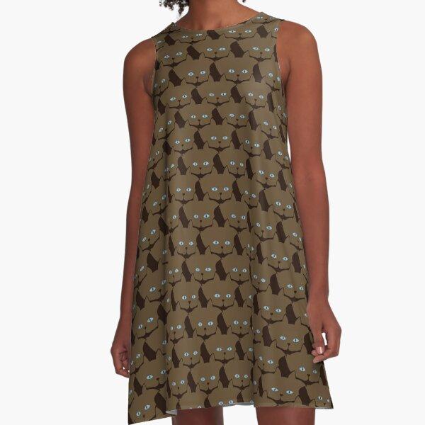 Chai Brown Cat Cattern [Cat Pattern] A-Line Dress