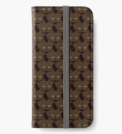 Coffee Brown Cat Cattern [Cat Pattern] iPhone Wallet