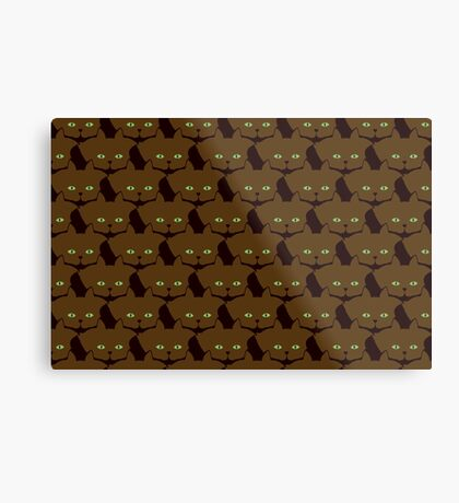 Coffee Brown Cat Cattern [Cat Pattern] Metal Print