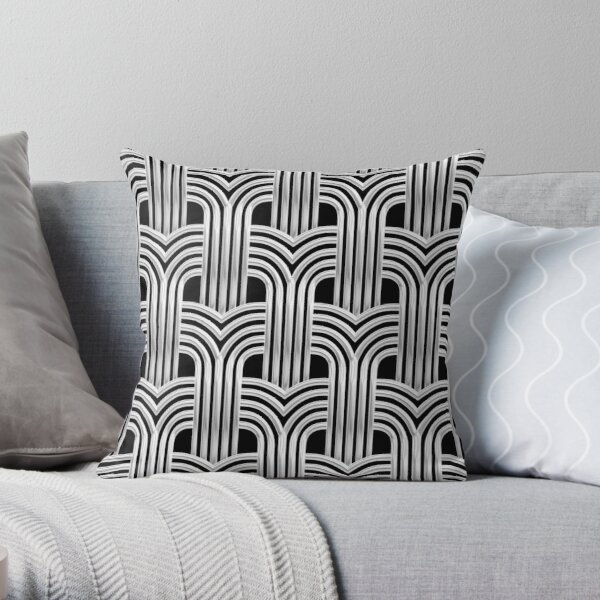 3-D Art Deco Silver-Hued Architectural Chic Design Throw Pillow