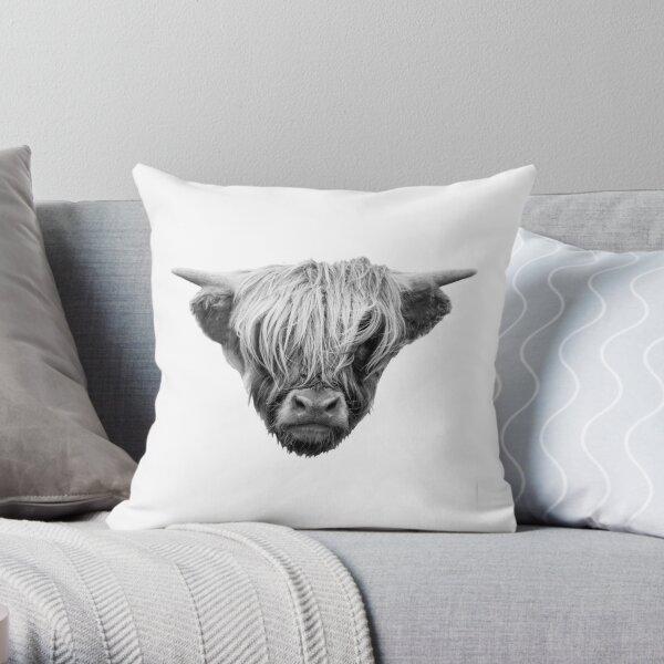 Highland cow head Throw Pillow