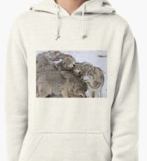 Playful Wolf Pack Pullover Hoodie