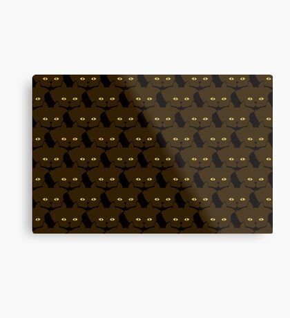 Mocha Brown Cat Cattern [Cat Pattern] Metal Print