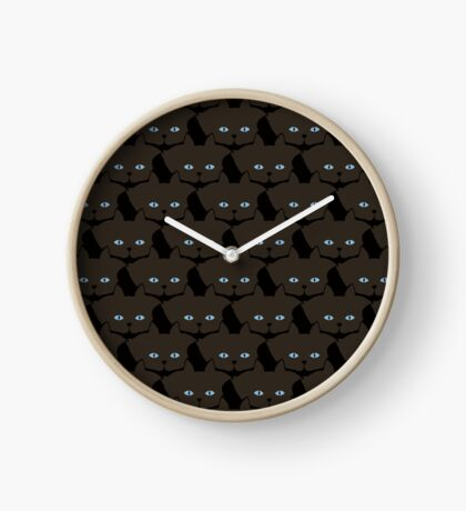 Dark Espresso Brown Cat Cattern [Cat Pattern] Clock