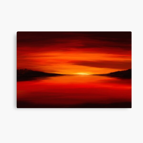 Painting of a dreamy seascape in bold red colors Canvas Print