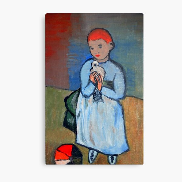 girl with dove after Picasso Metal Print