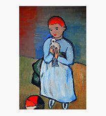 girl with dove after Picasso Photographic Print