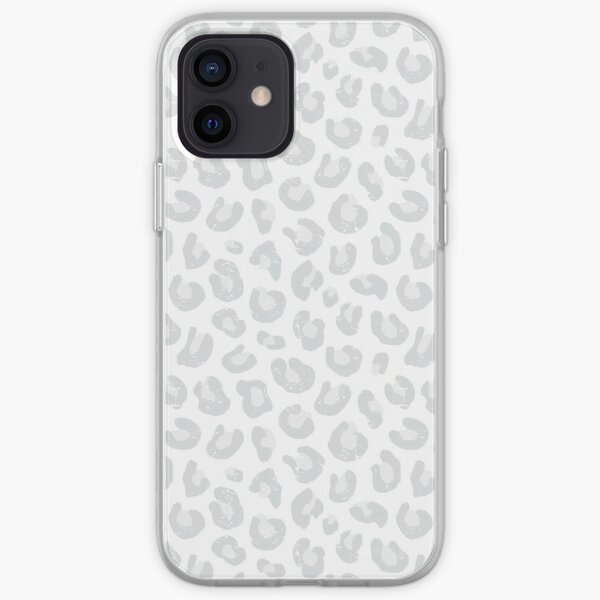Leopard Print - Silver Gray and White  iPhone Soft Case