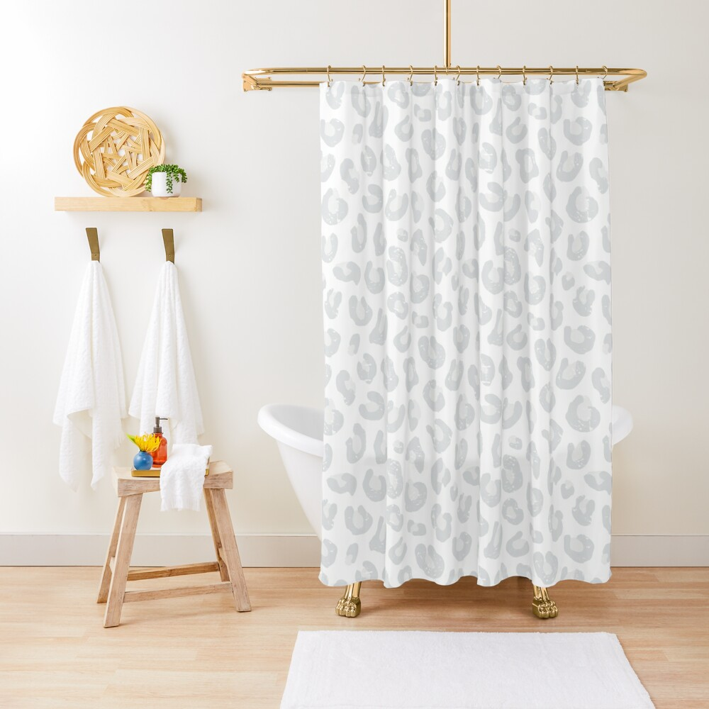 Leopard Print - Silver Gray and White  Shower Curtain