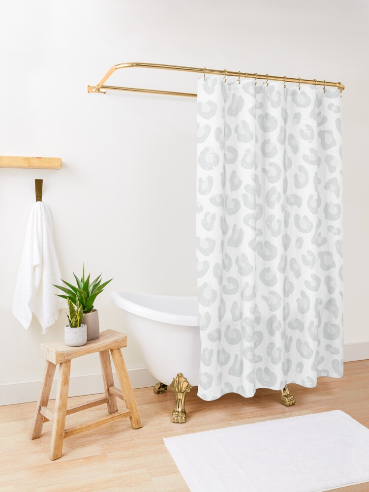 Alternate view of Leopard Print - Silver Gray and White  Shower Curtain