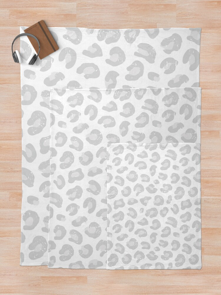 Alternate view of Leopard Print - Silver Gray and White  Throw Blanket