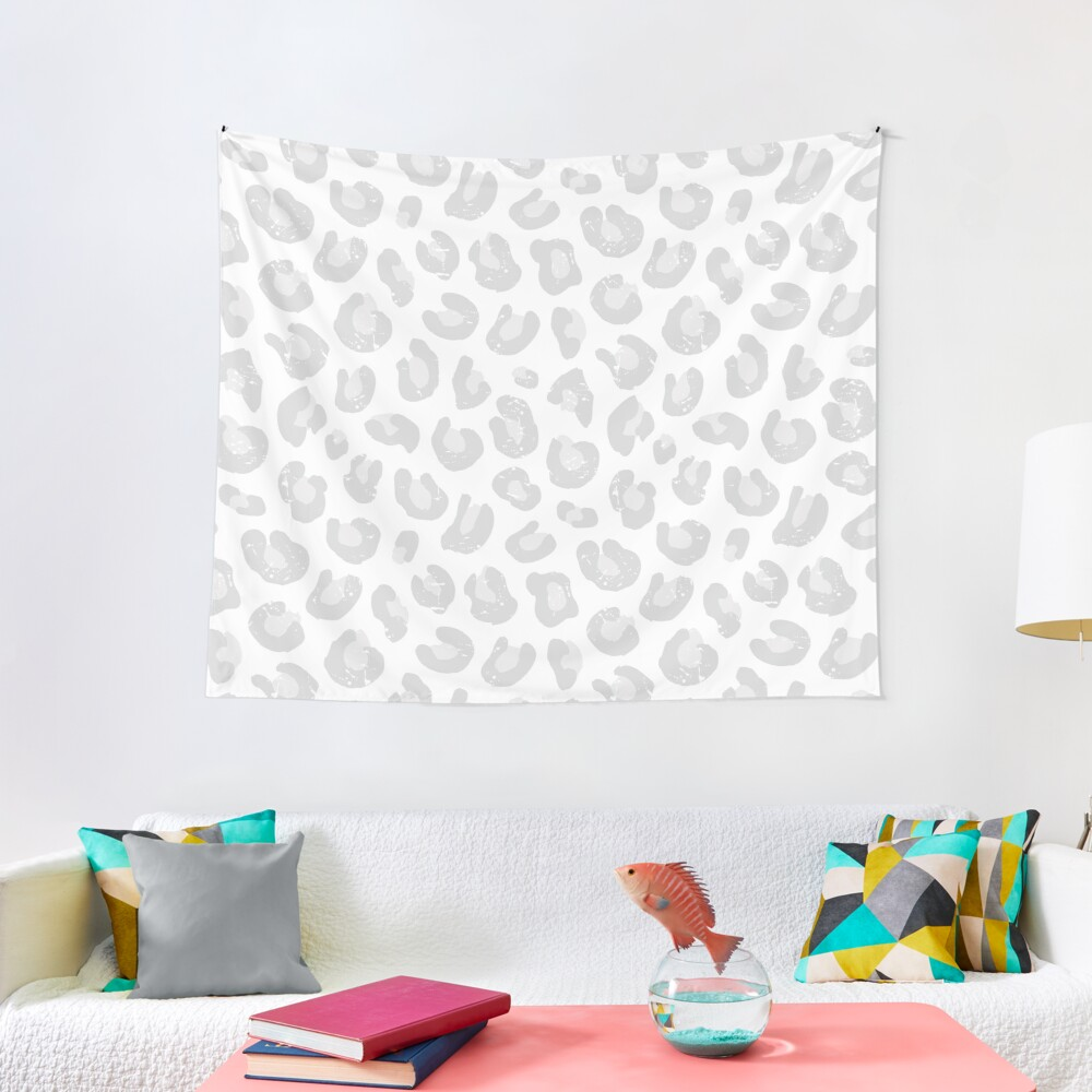 Leopard Print - Silver Gray and White  Tapestry
