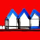 «Casas en azul No .: 02 en tablero rojo» de Istvan Ocztos