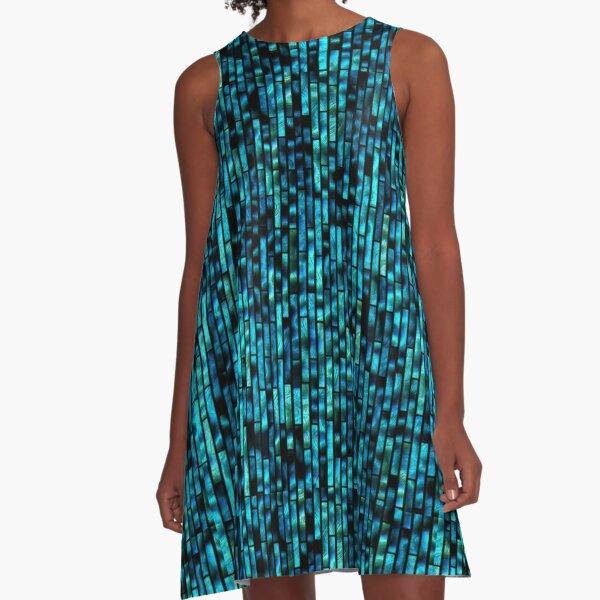 70s Disco Inspired Merch | Sequins | Blue Metallic Texture A-Line Dress