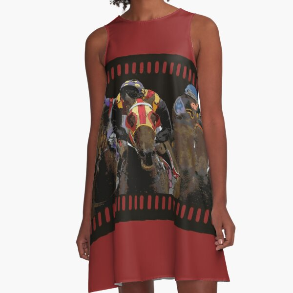 Horse Racing on a Film Strip A-Line Dress