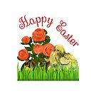 Happy Easter Chick and Eggs by tribbledesign