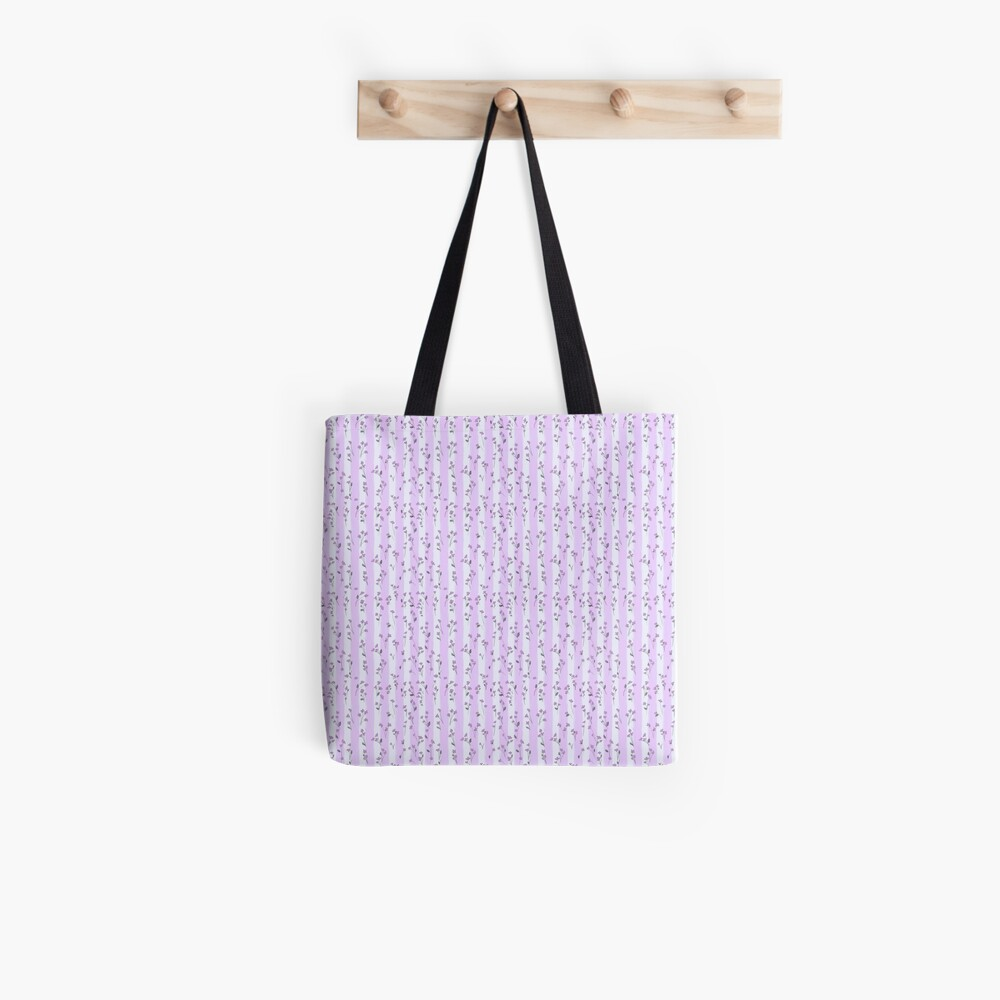 Orchid Lilac Blossoms on Pastel Lilac Streaky Stripes Tote Bag