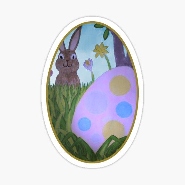 Rabbit Behind Egg Sticker