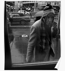 Man looking Into Window Poster
