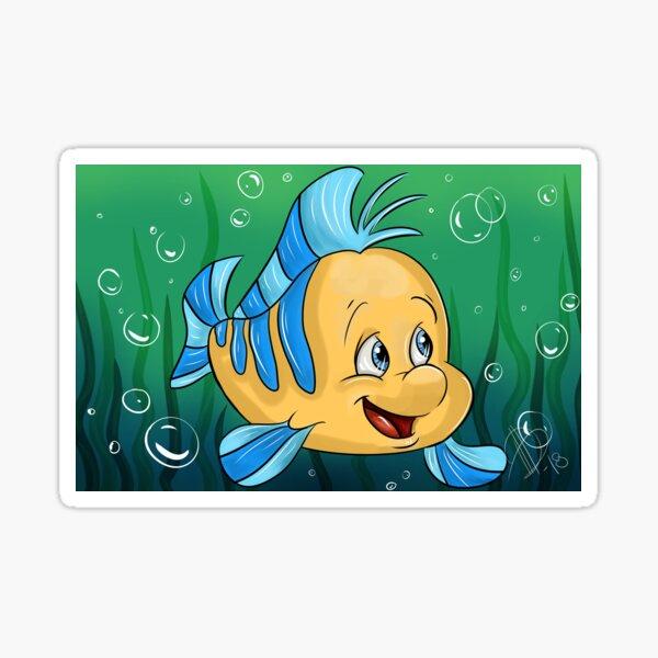 Yellow and Blue Fish Cartoon Sticker