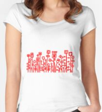 Cyber Garden - Red Women's Fitted Scoop T-Shirt