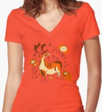 Cave Painting With Entoptics Women's Fitted V-Neck T-Shirt
