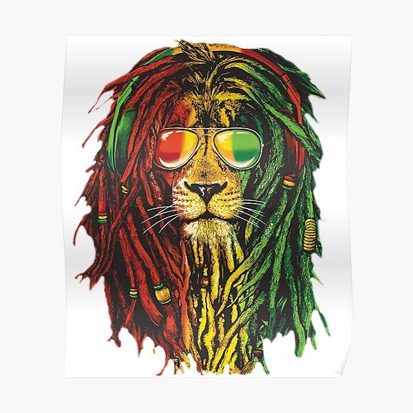 Bob Marley Rasta Lion Art for Reggae Lover Poster