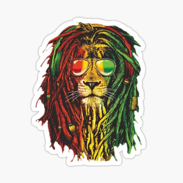 Bob Marley Rasta Lion Art para Reggae Lover Pegatina