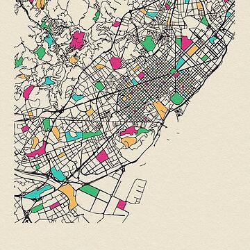 Mapa de calles de Barcelona, España de geekmywall
