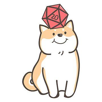 Perro Kawaii Shiba Inu para perros amante de los dados poliédricos D20 de pixeptional
