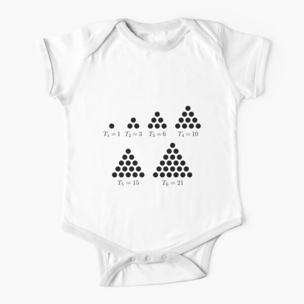 Mathematics, #Triangular #number or #triangle number counts objects arranged in an #equilateral triangle Short Sleeve Baby One-Piece