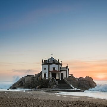 Sunset at the Chapel on the Beach, Portugal by CarolynEaton