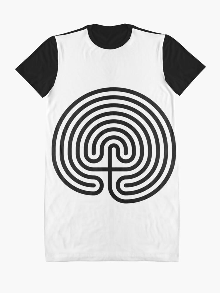 Alternate view of #Cretan, #labyrinth, Cretanlabyrinth Graphic T-Shirt Dress
