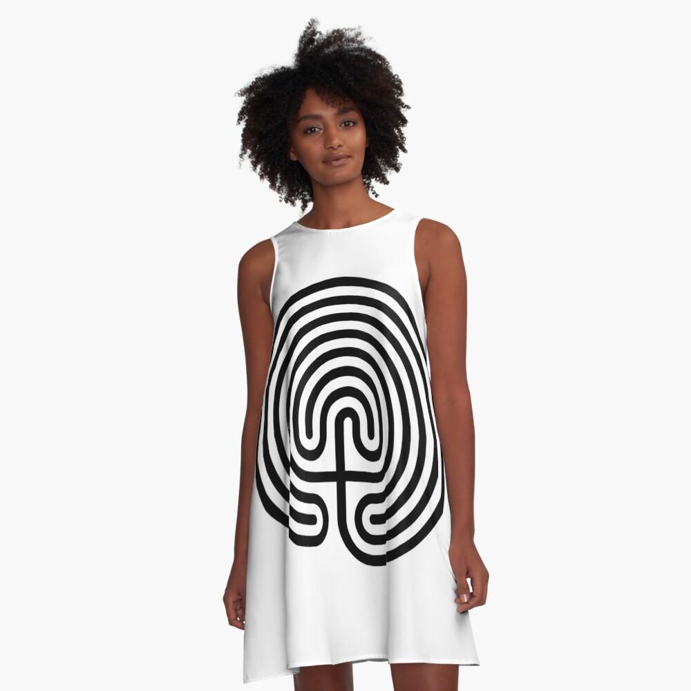 #Cretan, #labyrinth, Cretanlabyrinth A-Line Dress