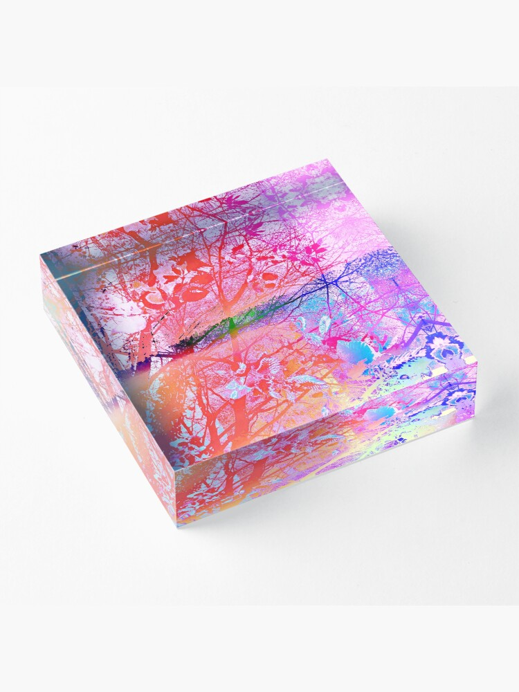Alternate view of under the trees colorful Acrylic Block