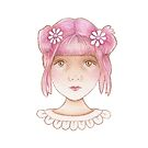 little girl with pink hair by trudette