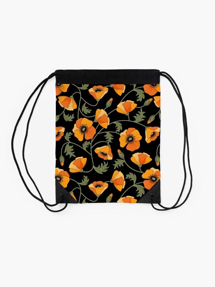 Alternate view of California Poppies Drawstring Bag