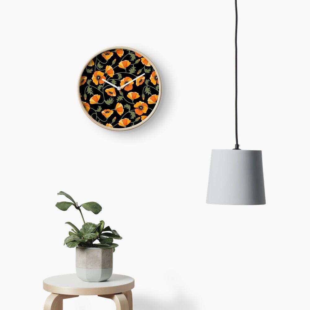 California Poppies Clock
