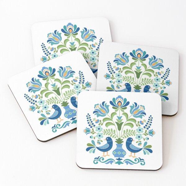 Hungarian Folk Design Blue Birds Coasters (Set of 4)