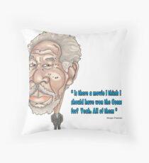 "Morgan Freeman ""Zitat Karikatur"" - handgezeichneter Originaldruck Dekokissen"