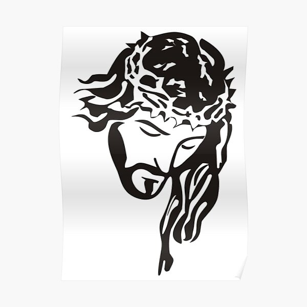 JESUS. CHRIST, OUTLINE, BLACK AND WHITE SILHOUETTE. Poster