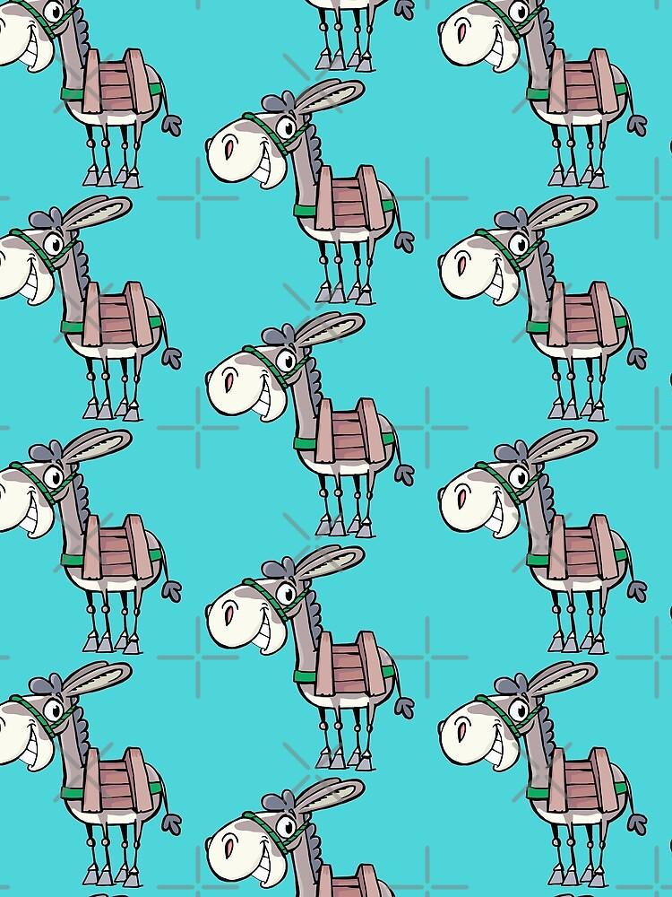 smiling little Donkey with a pack saddle by duxpavlic
