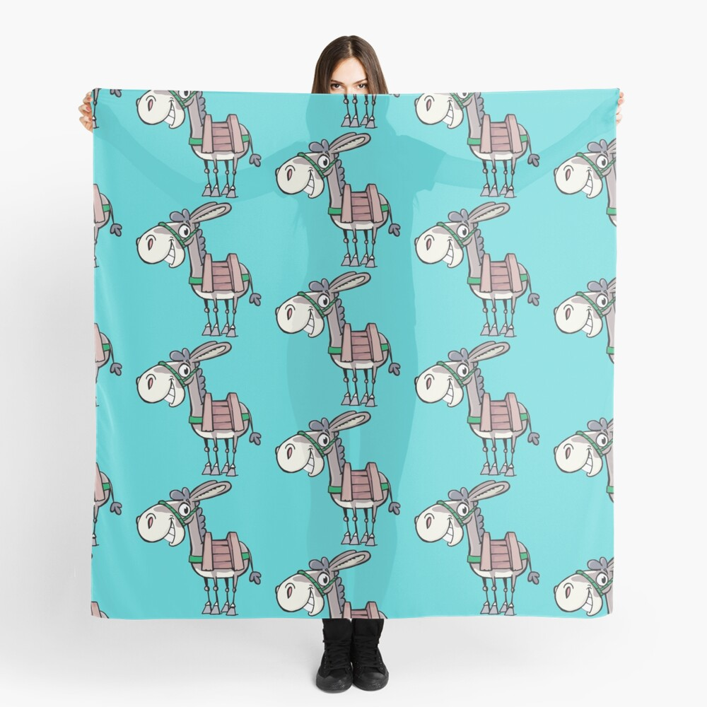 smiling little Donkey with a pack saddle Scarf