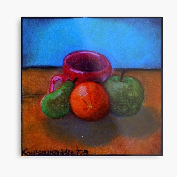 Fruits and Cup of Coffee Metal Print