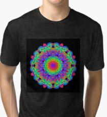 Neon Bright Kaleidoscope On Black Tri-blend T-Shirt