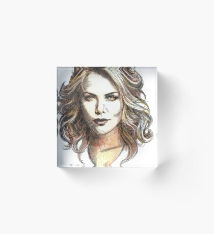 Drawing of  Charlize the movie star Acrylic Block