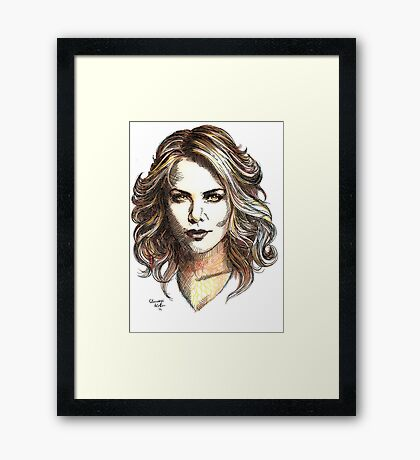 Drawing of  Charlize the movie star Framed Print